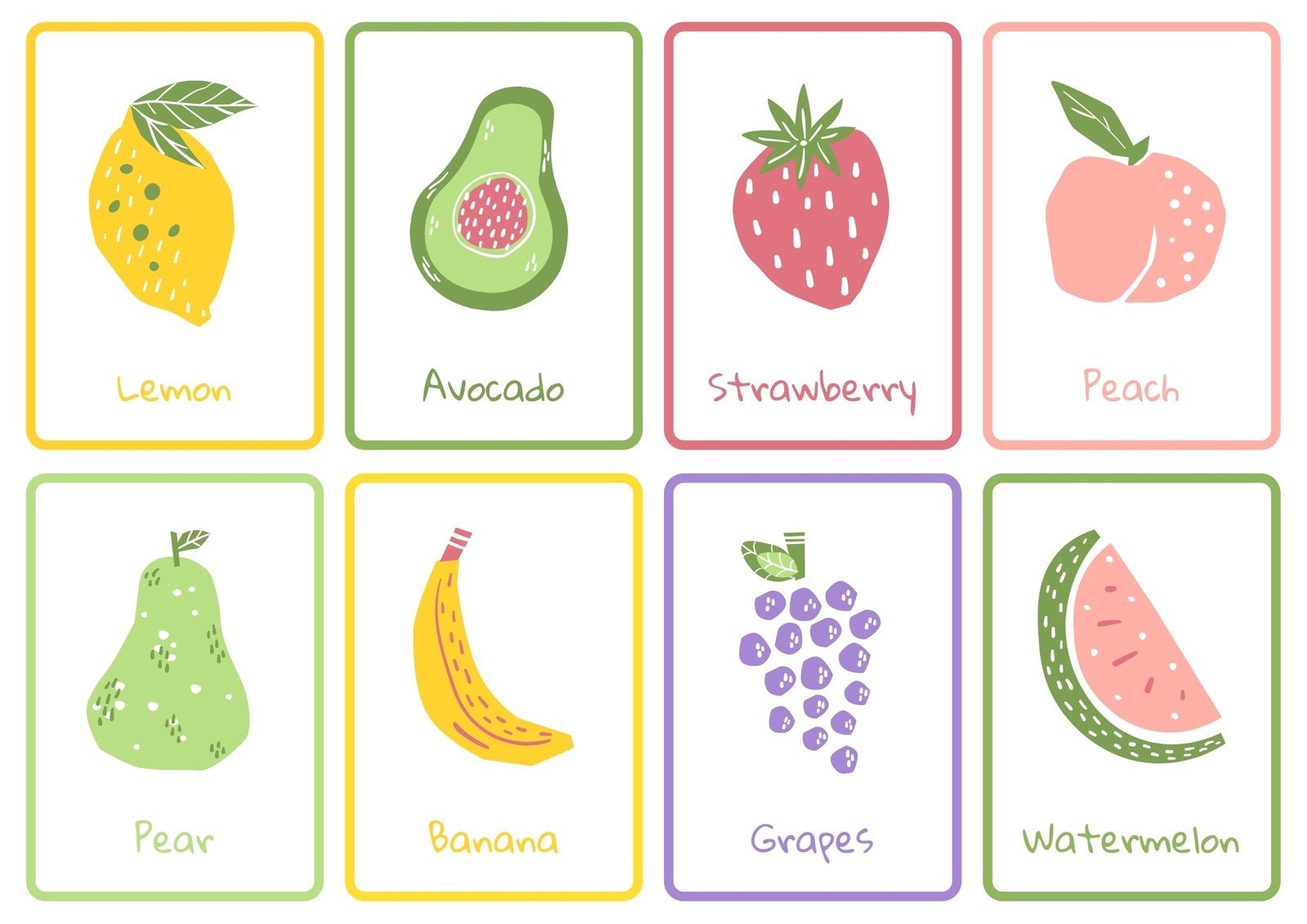 Fruits Colorful Handdrawn Flashcard Sheets