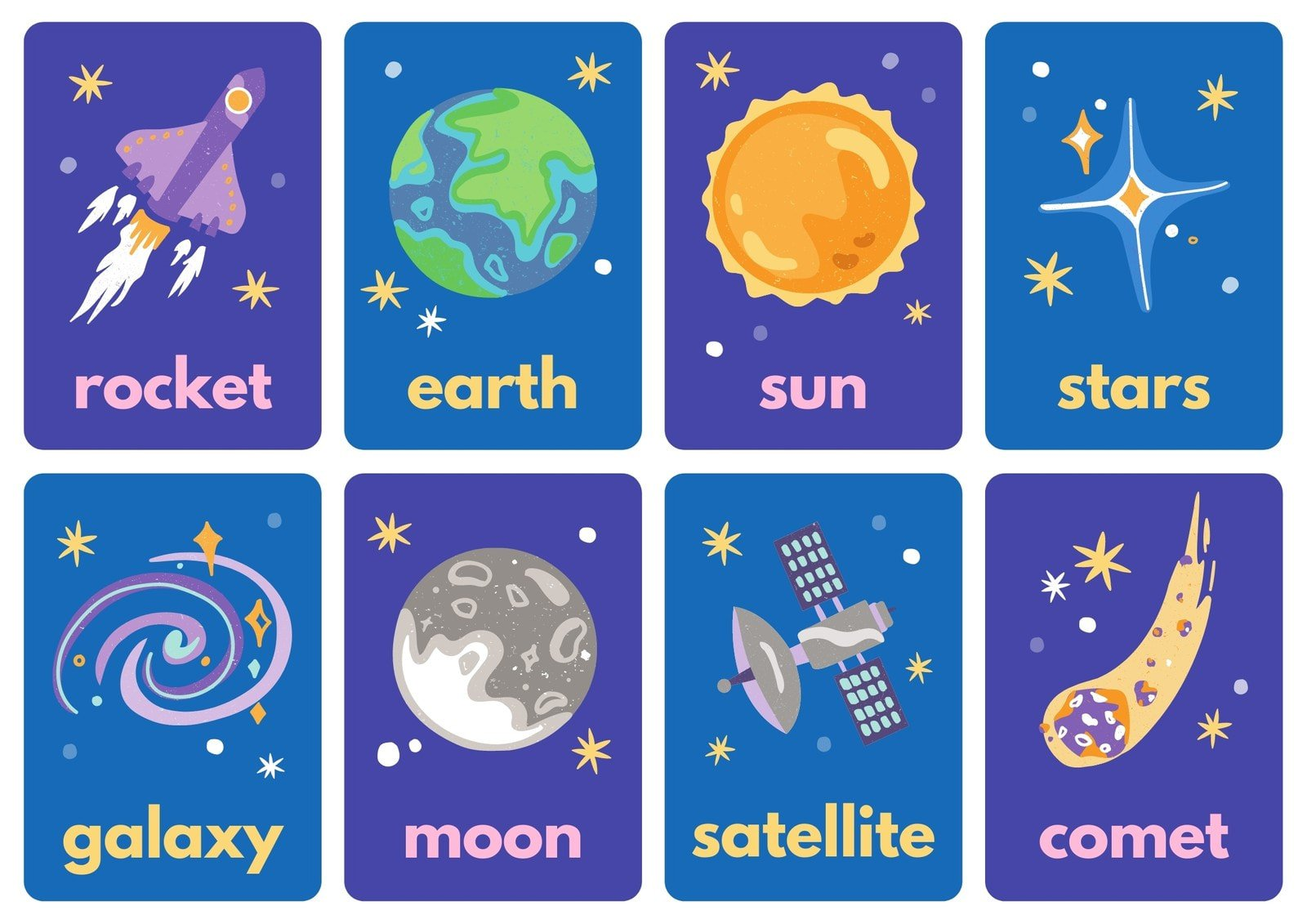 Things in Space Blue Flashcard Sheets