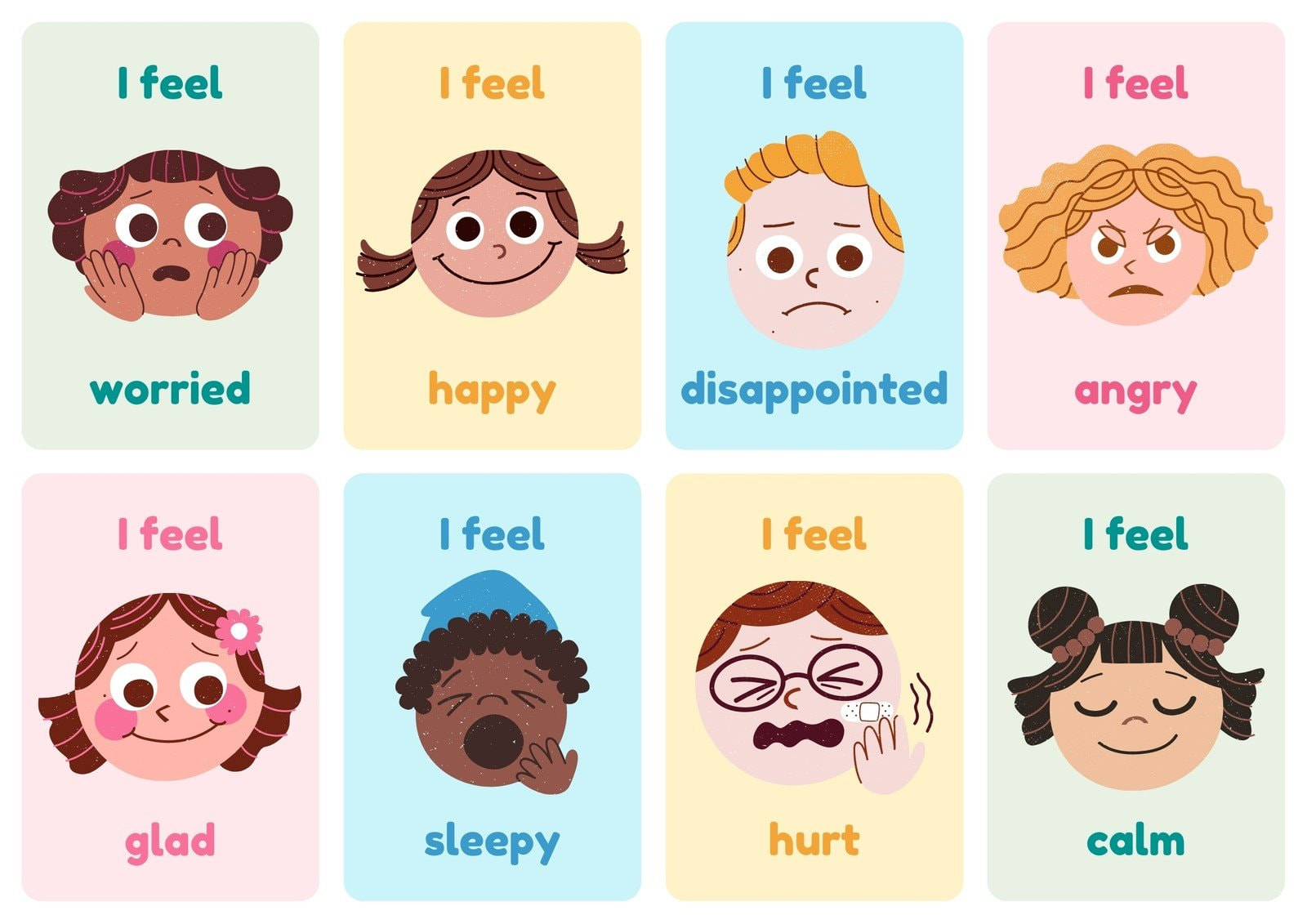Emotions Simple Illustration  Flashcard Sheets