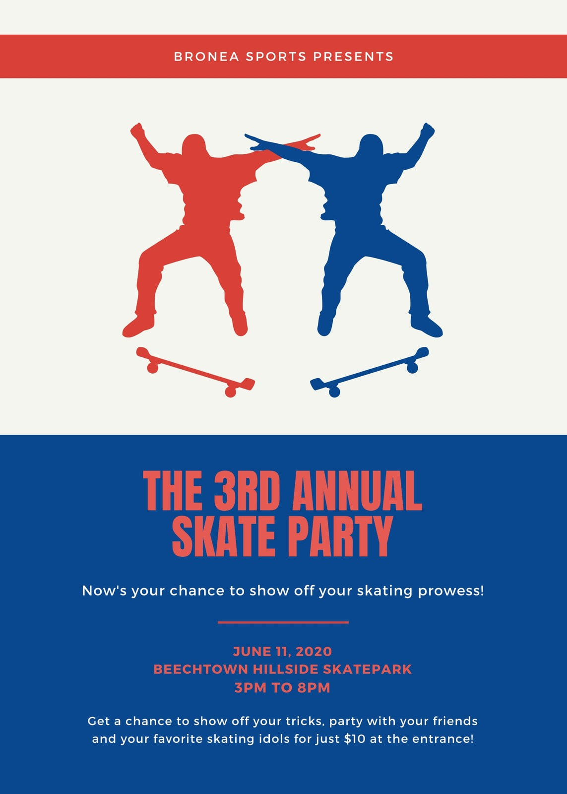 Blue Orange White Skate Party Flyer