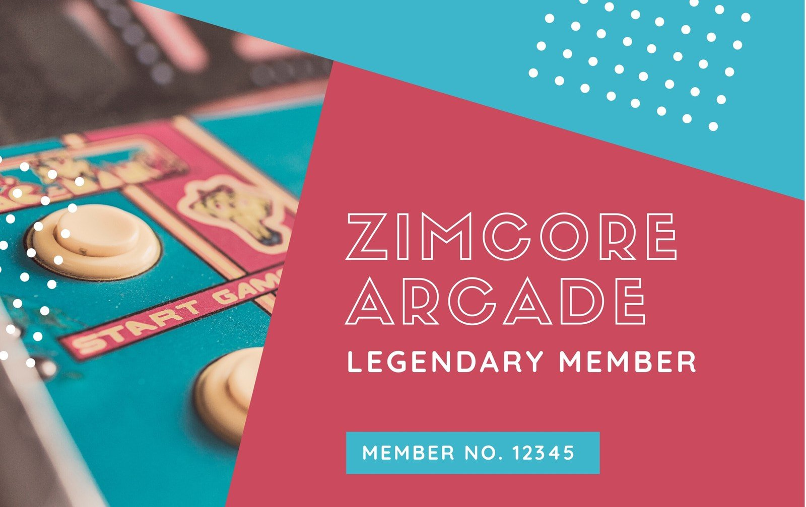 Red and Blue Retro Funky Arcade Membership ID Card