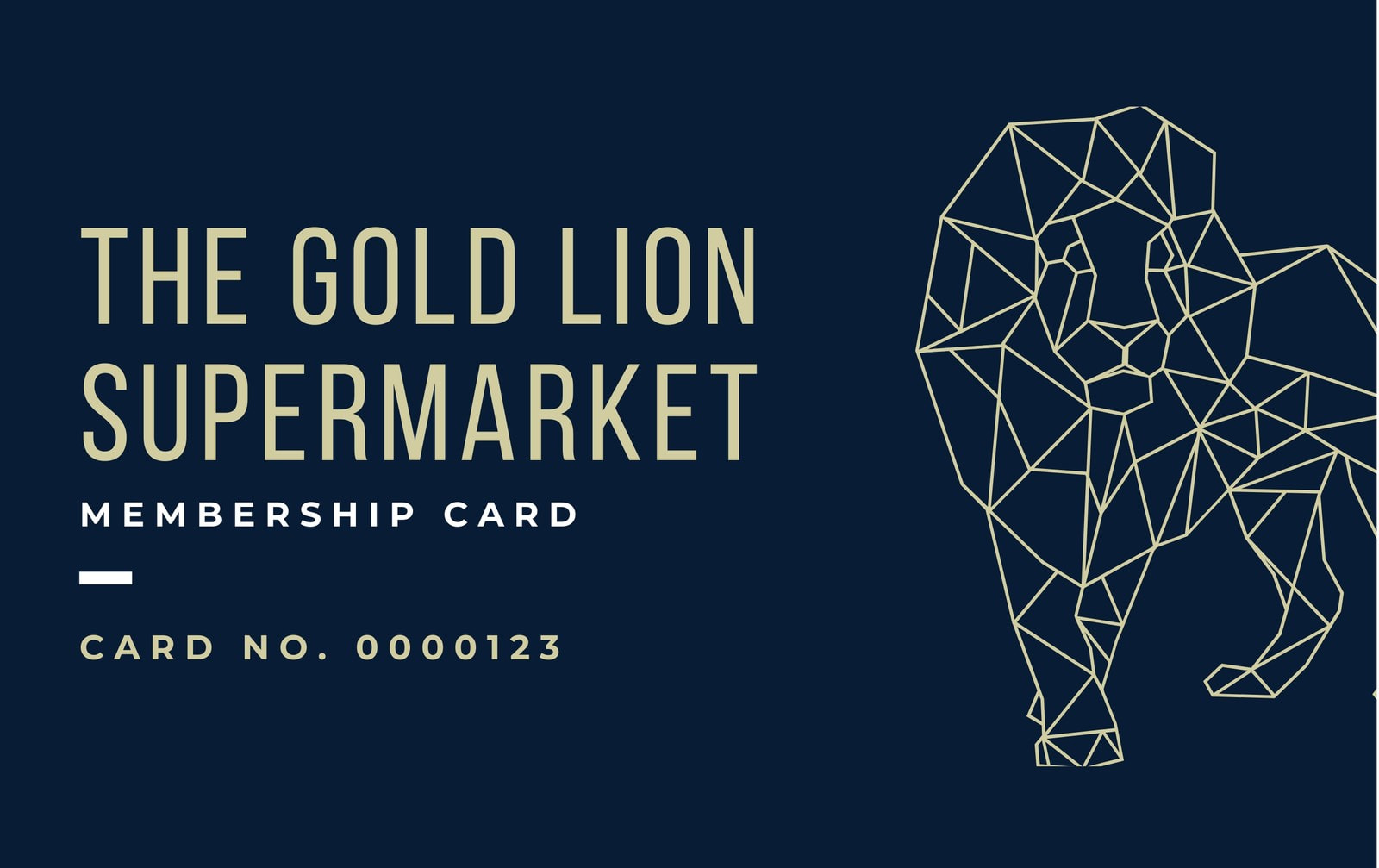 Blue and Gold Lion Membership ID Card