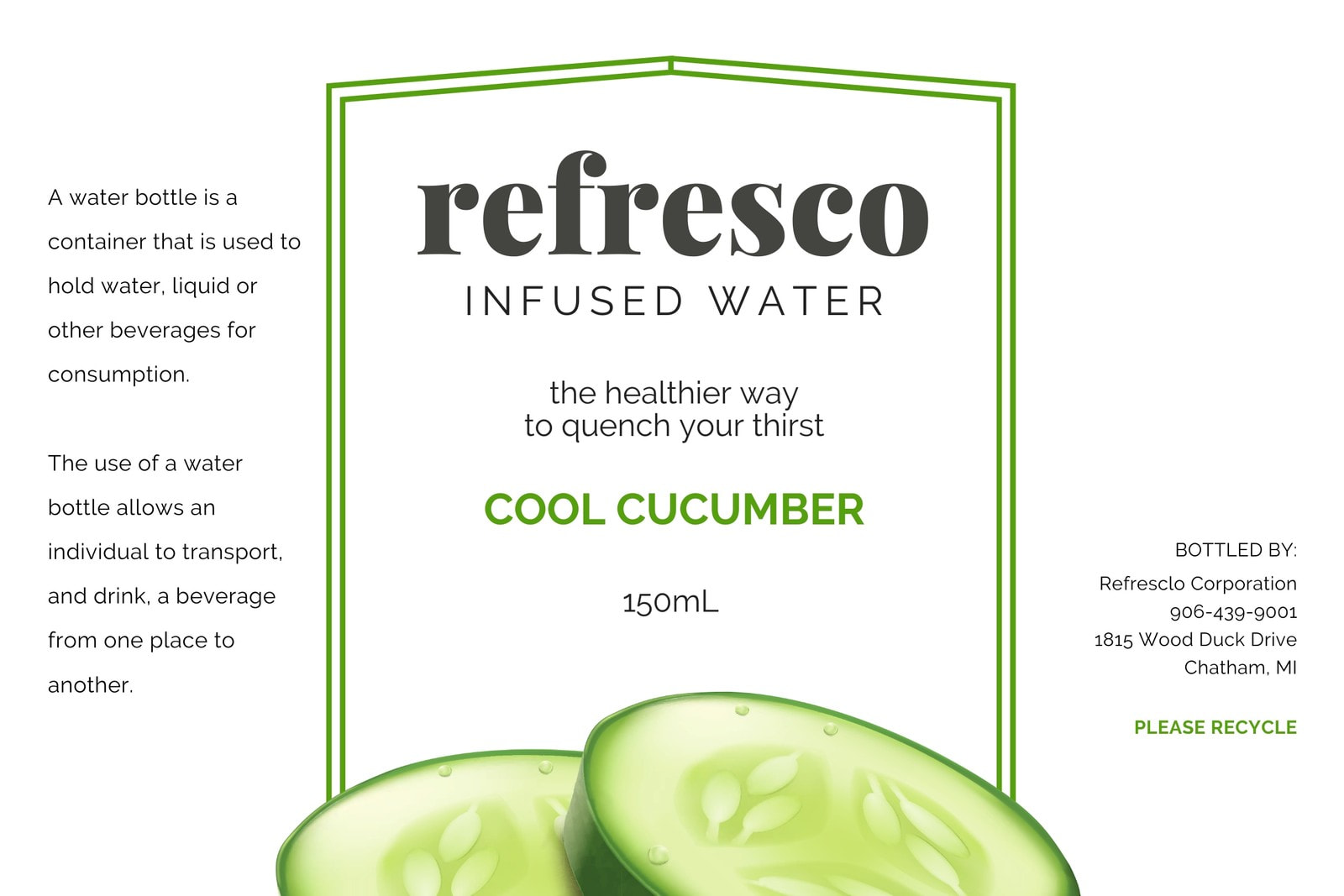 Green Cucumber Water Bottle Label