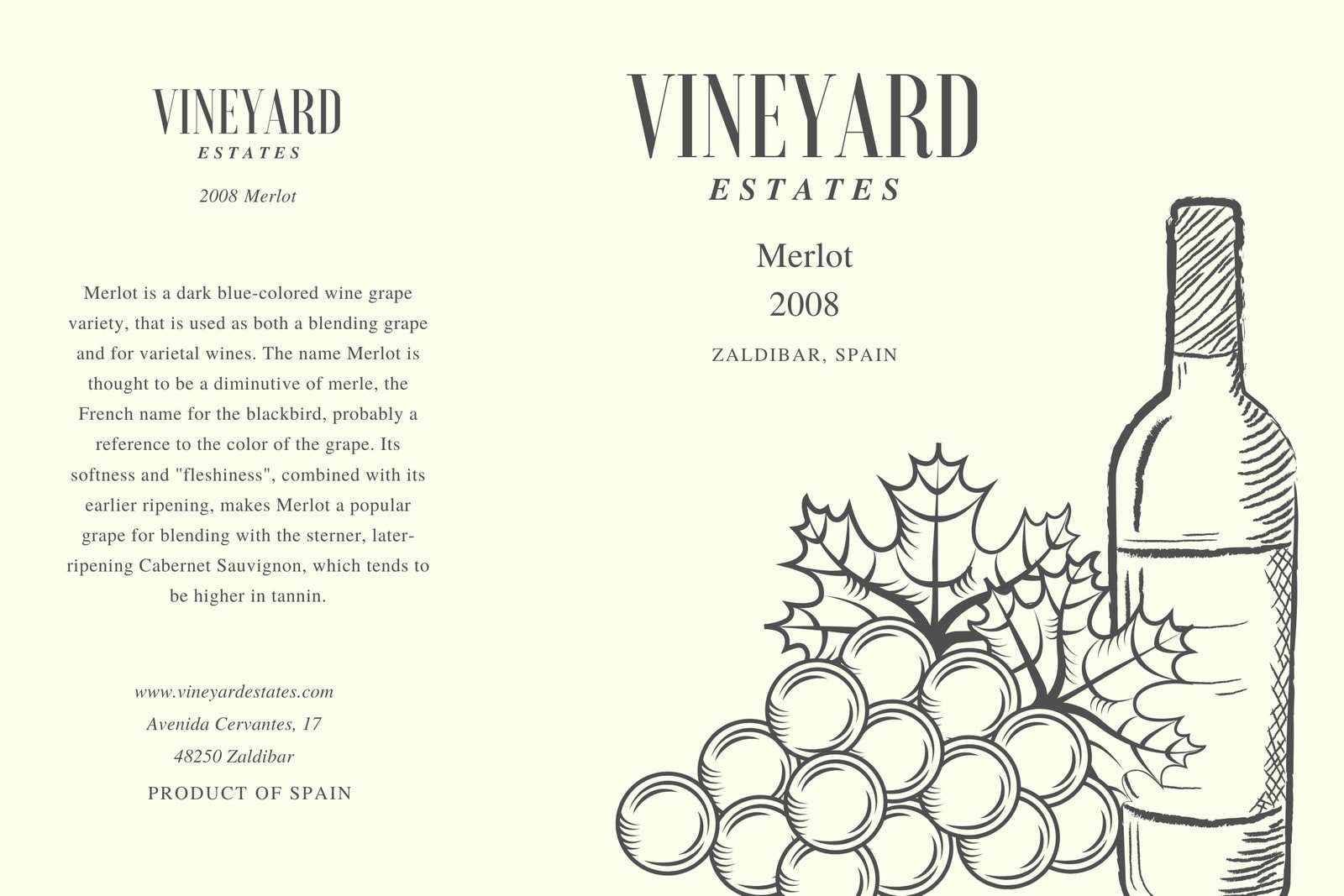 Grey and Cream and Grapes Illustration Wine Label