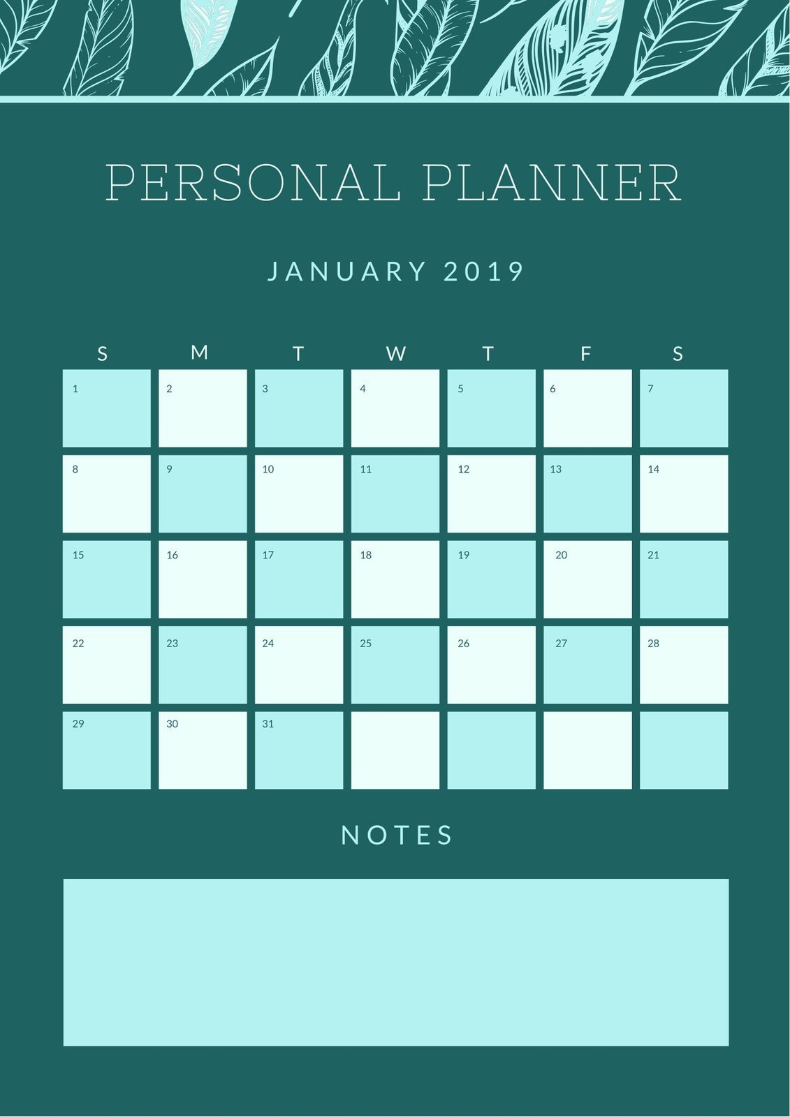 Blue Green Feather Pattern General Personal Planner