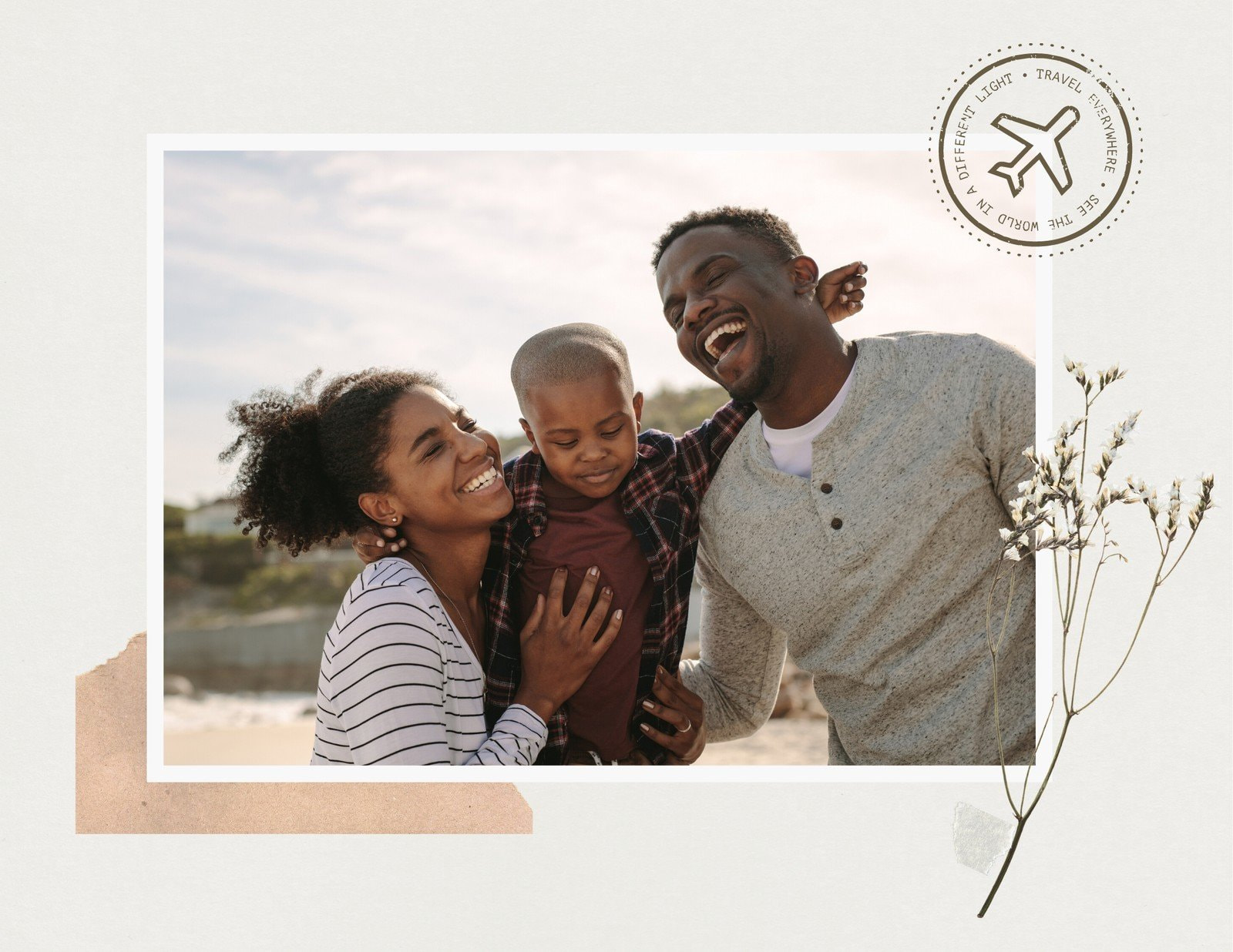 Beige and Brown Scrapbook Family Photo Book