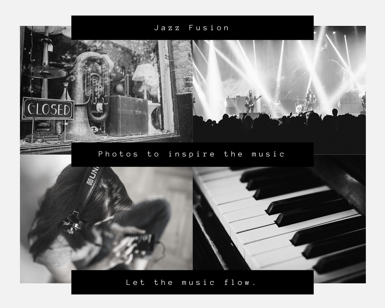 Black and White Music Mood Board Photo Collage