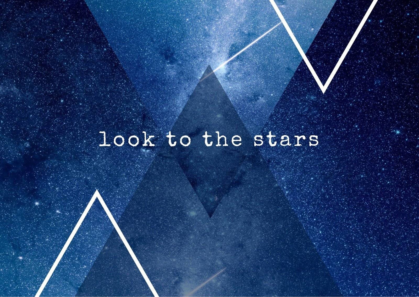 Blue Stars Space Triangles Picture Postcard