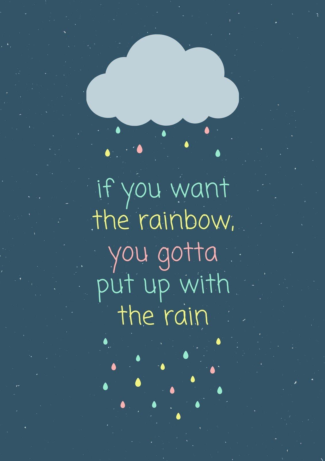 Colorful Cloud Rain Quote Portrait Poster