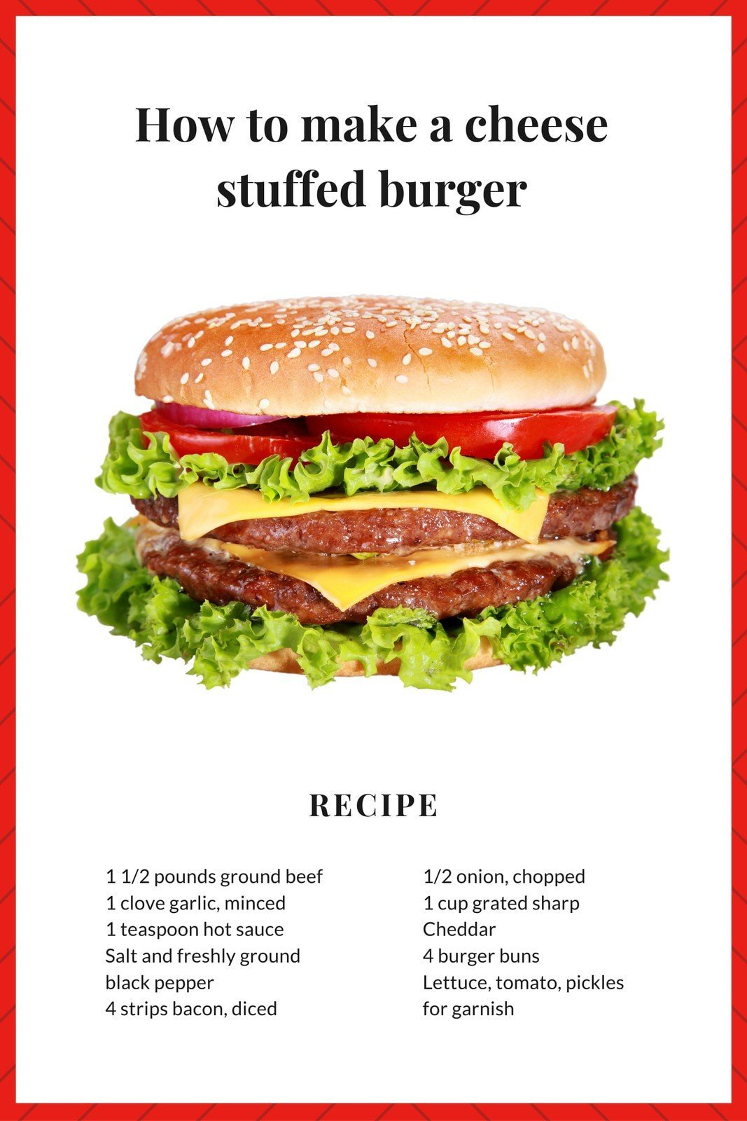 Red Burger Recipe Pinterest Graphic