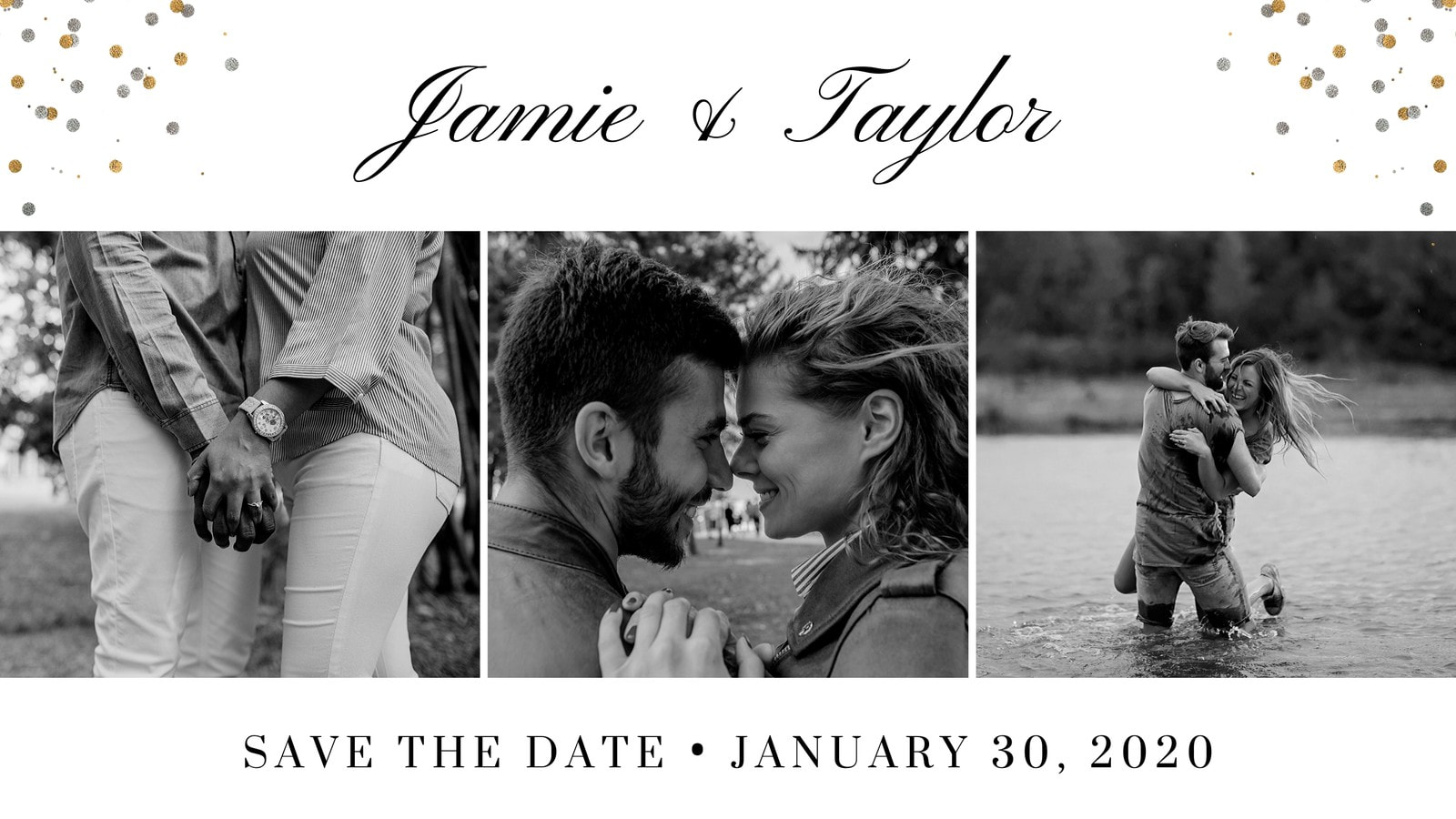 Black and White Wedding Save The Date Slideshow Video