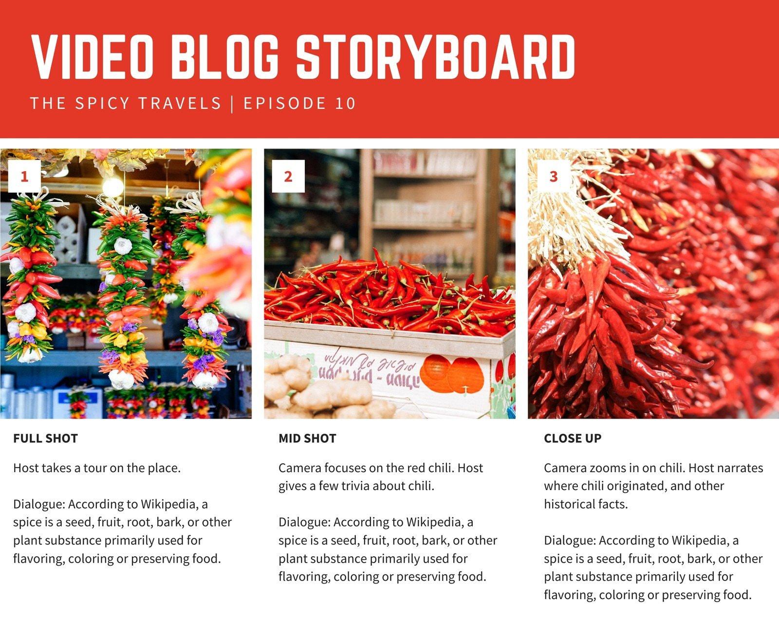 Bright Header Red Three-Panel Storyboard