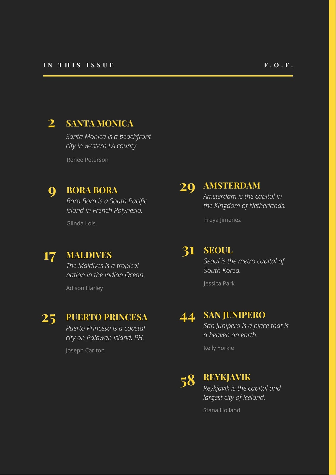 Charcoal and Yellow Simple Table of Contents