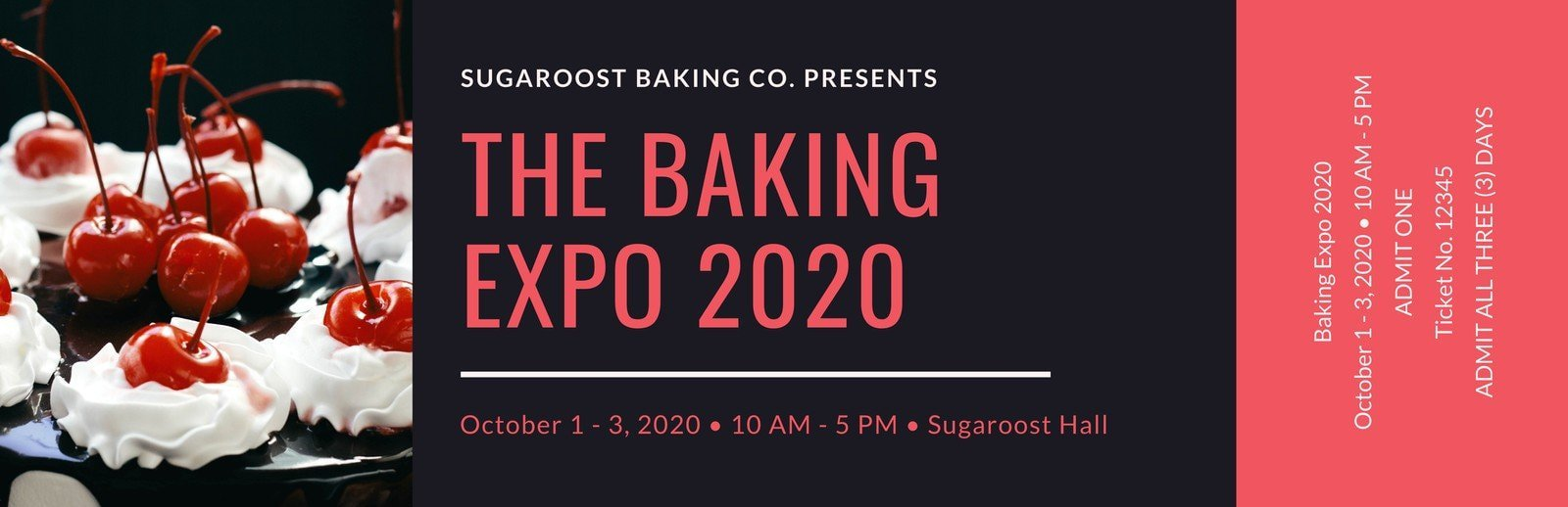 Red and Black Baking Expo Event Ticket