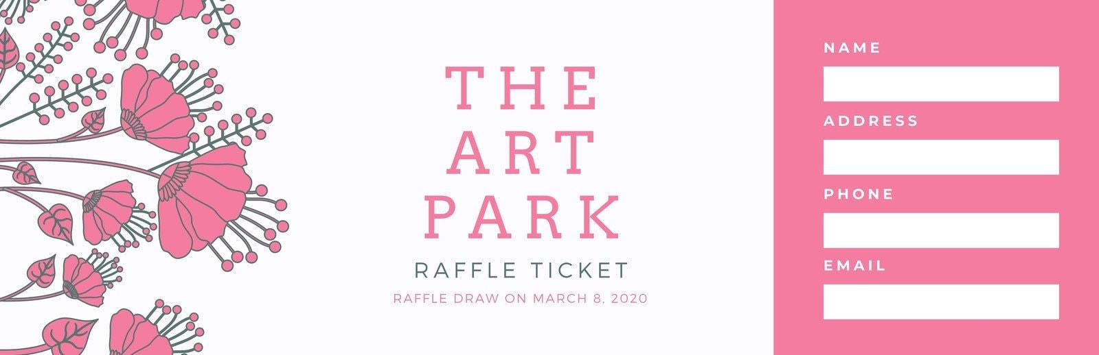 Pink Floral Illustration Raffle Ticket