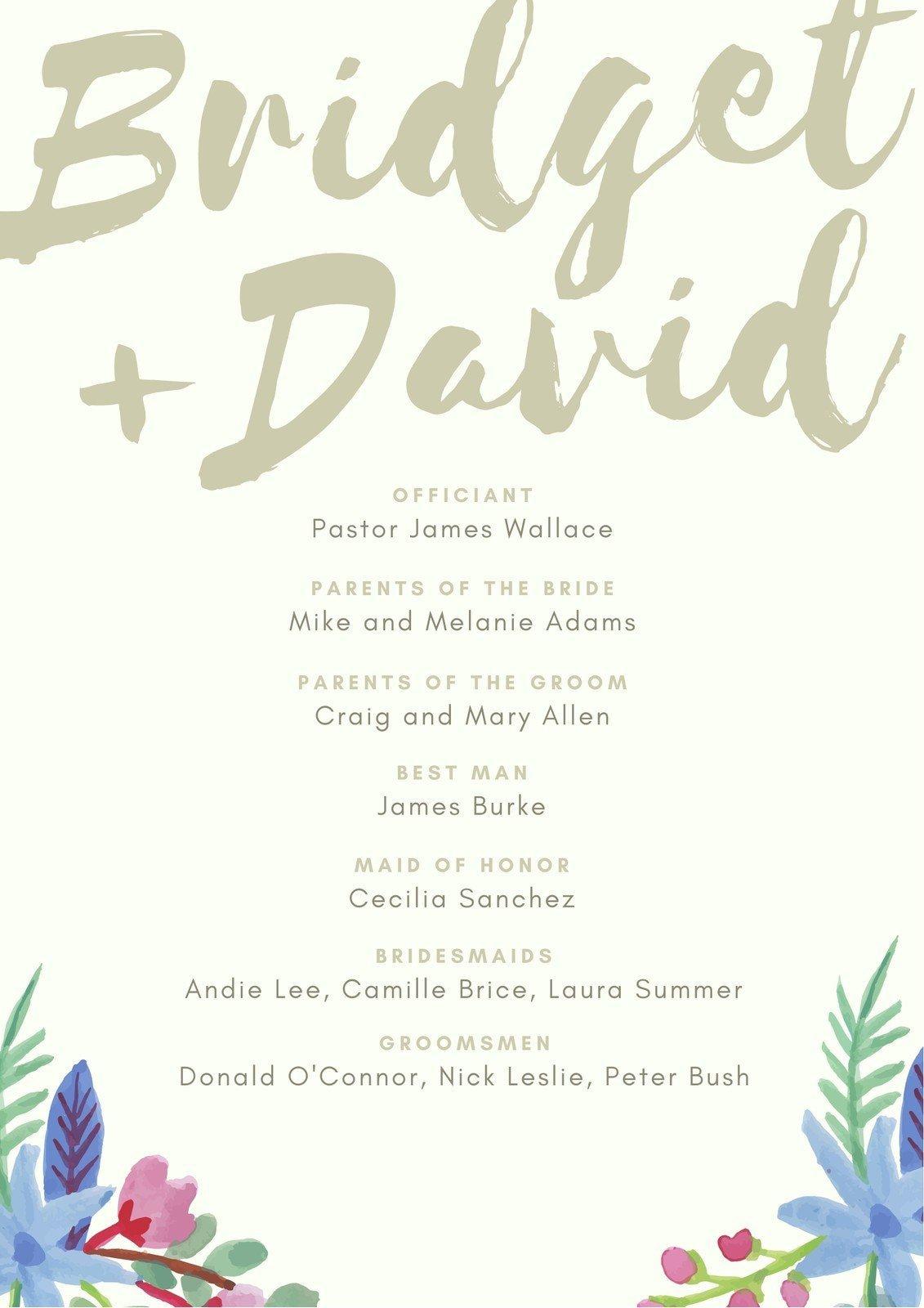 Green Blue Floral Watercolor Wedding Program