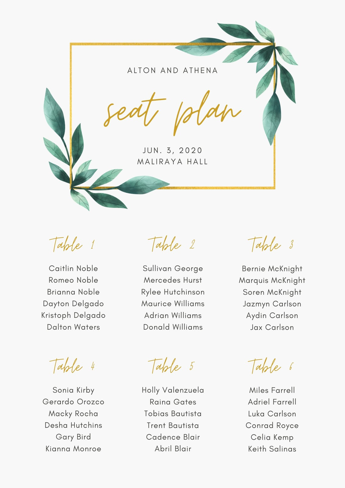 Green and Gold Box Border Geometric Floral Wedding Seating Chart