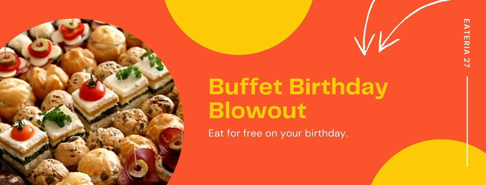 Orange and Yellow Graphic / Illustrated Birthday Promo Facebook Cover