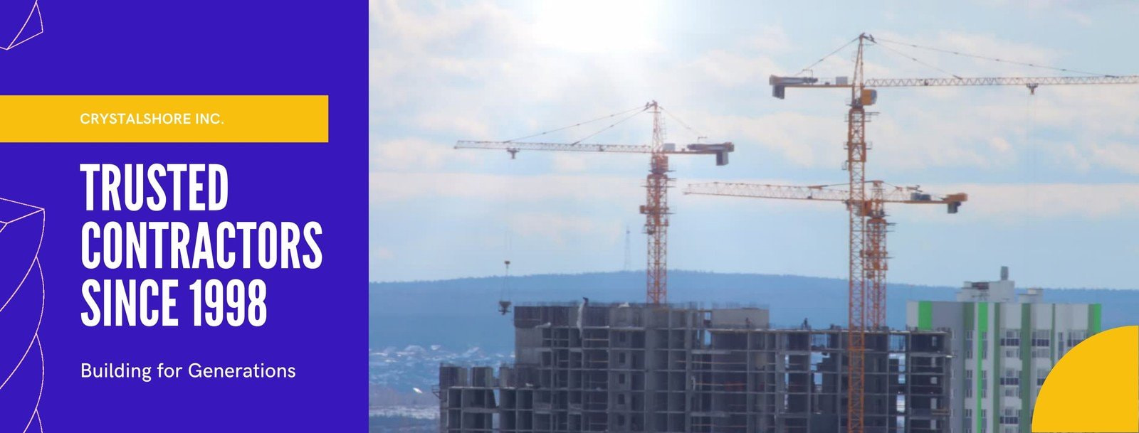 Blue and Yellow Color Block Company / Contractor Construction Facebook Cover