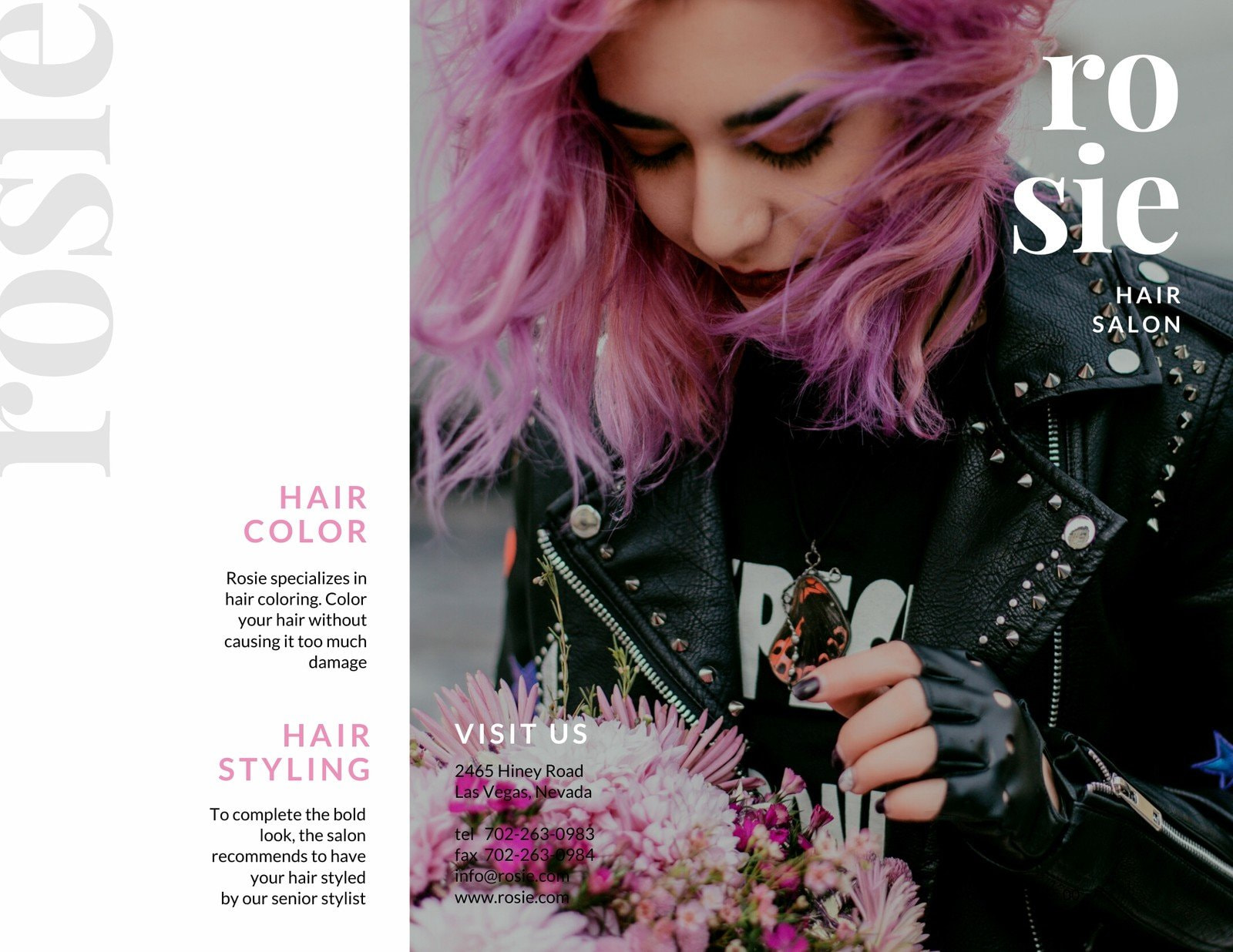 Pink and Light Blue Woman with Pink Hair Pamphlet Trifold Brochure