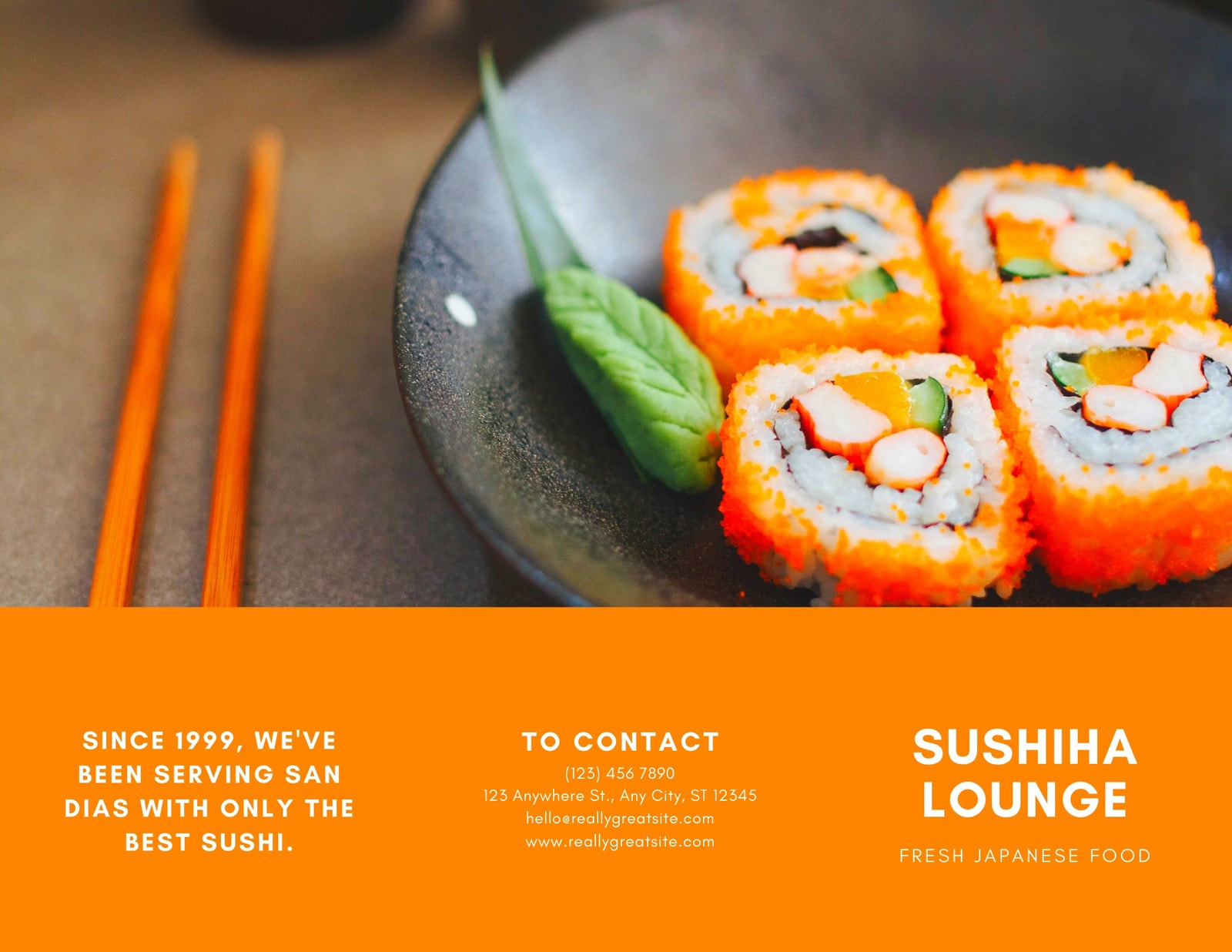 Orange and White Sushi Pamphlet Tri-fold Brochure