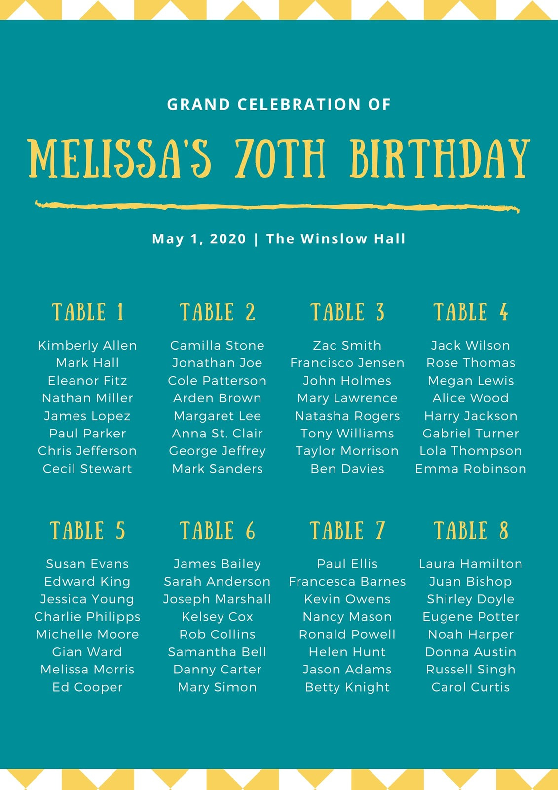 Teal Triangle Chalk Birthday Seating Chart