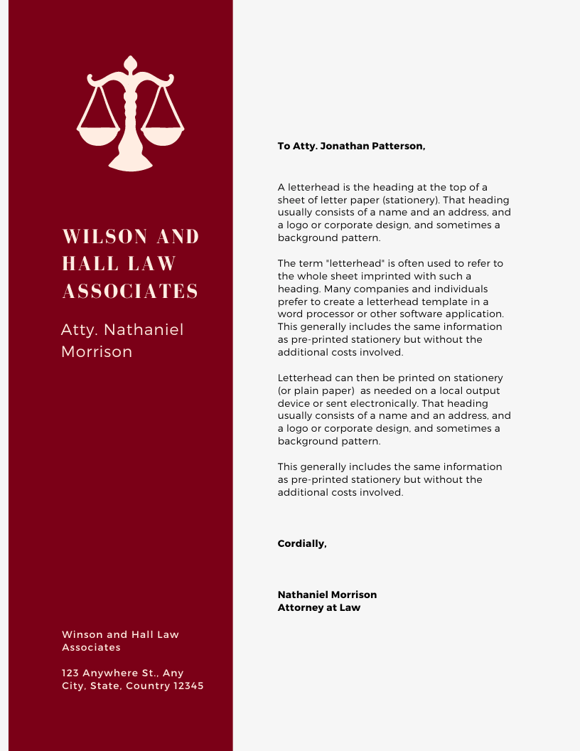 Print Law Letterhead - Maroon Sidebar Law Firm Letterhead