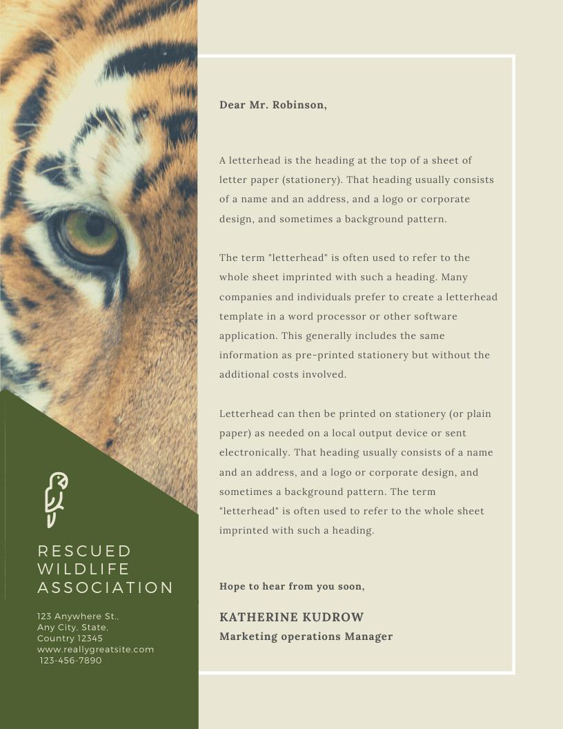 Print Charity Letterhead - Beige Wildlife Photo Charity Letterhead