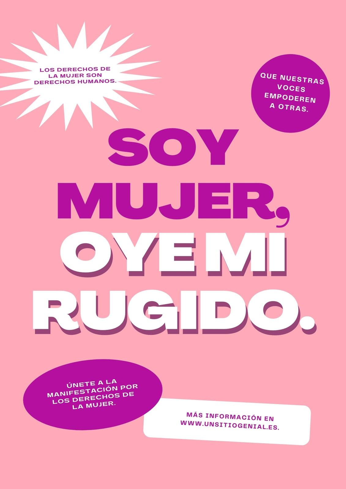 Morado Rosa Blanco Voces por la Justicia Evento Póster