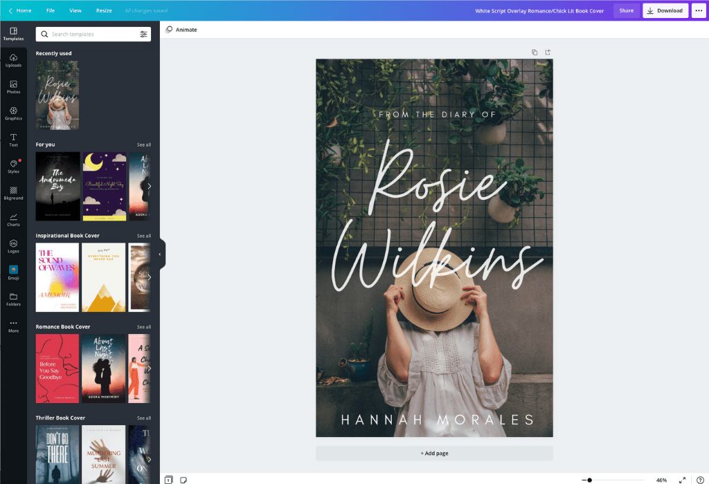 How to make a book cover - Canva