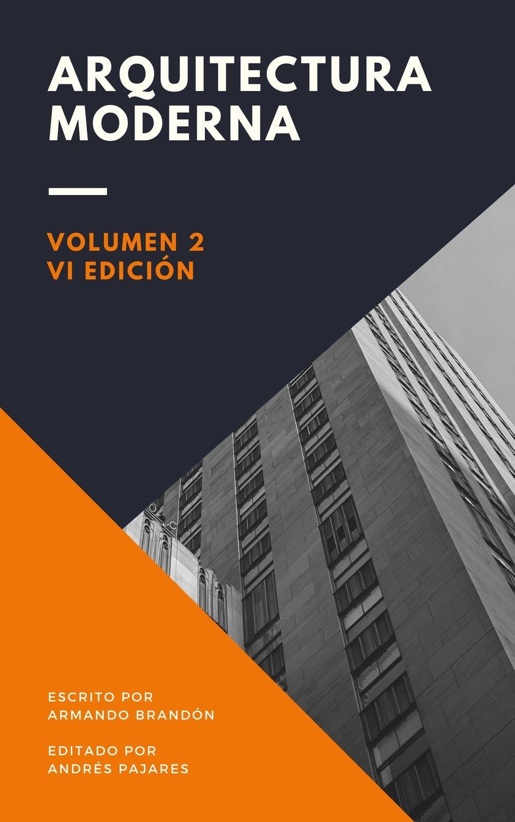 Portada de Libro Arquitectura Moderna Triangular Naranja y Morado Oscuro