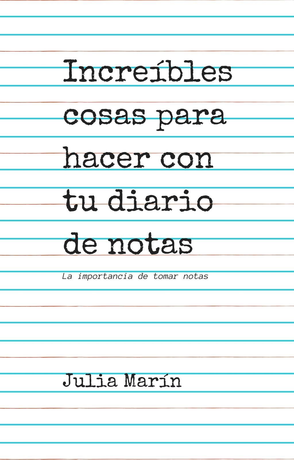Portada de Libro con Cuaderno a Rayas Blanco
