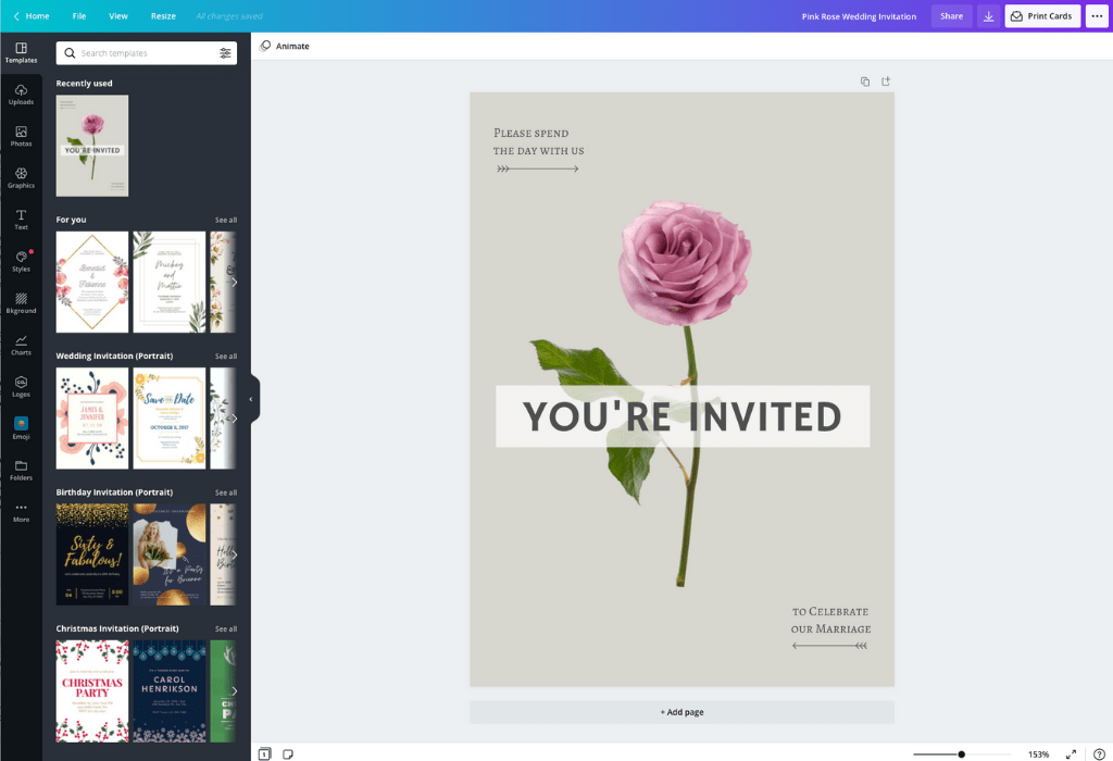 How to make a wedding invitation - Canva