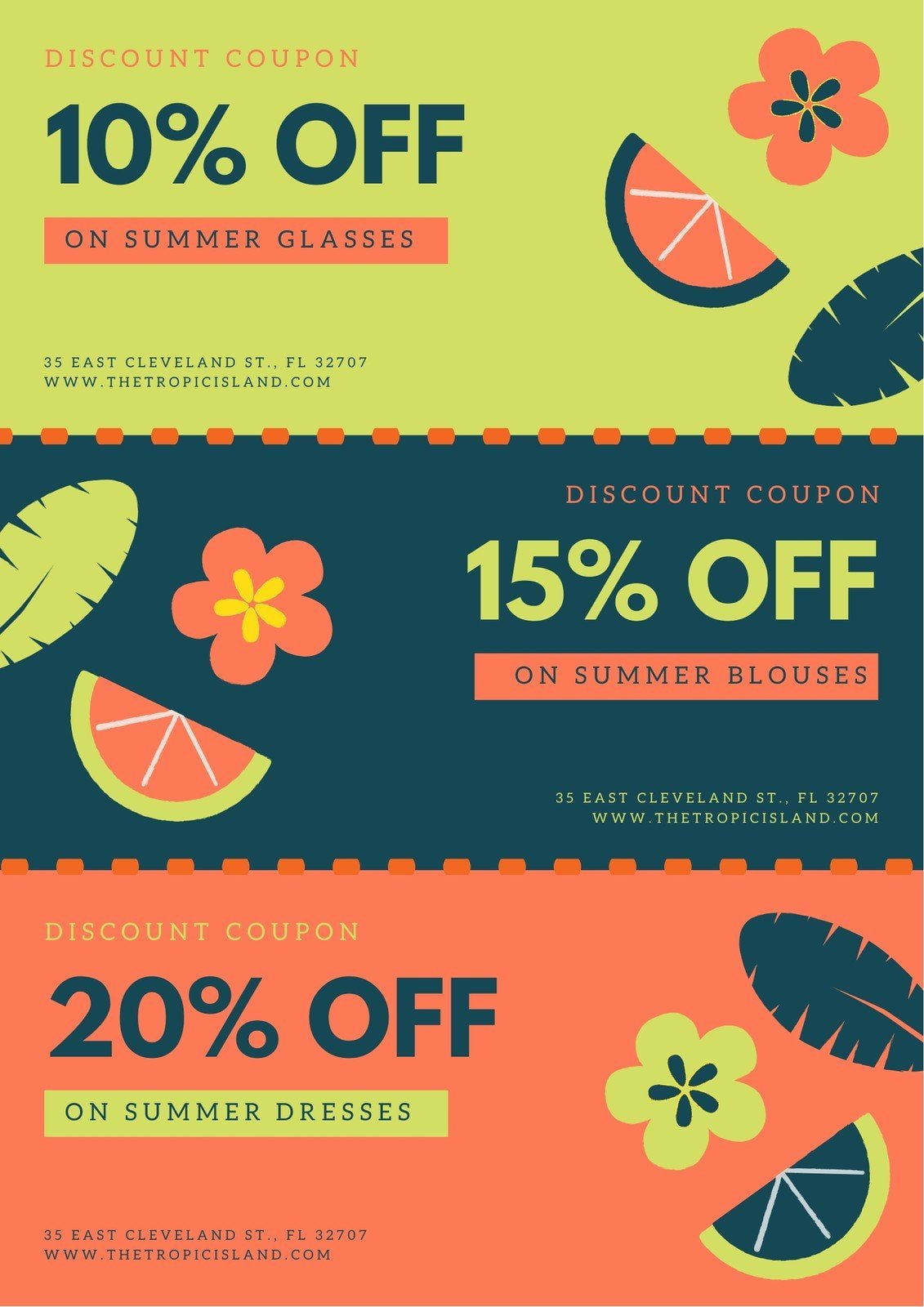 Orange Green Tropical Summer Seasonal Coupon
