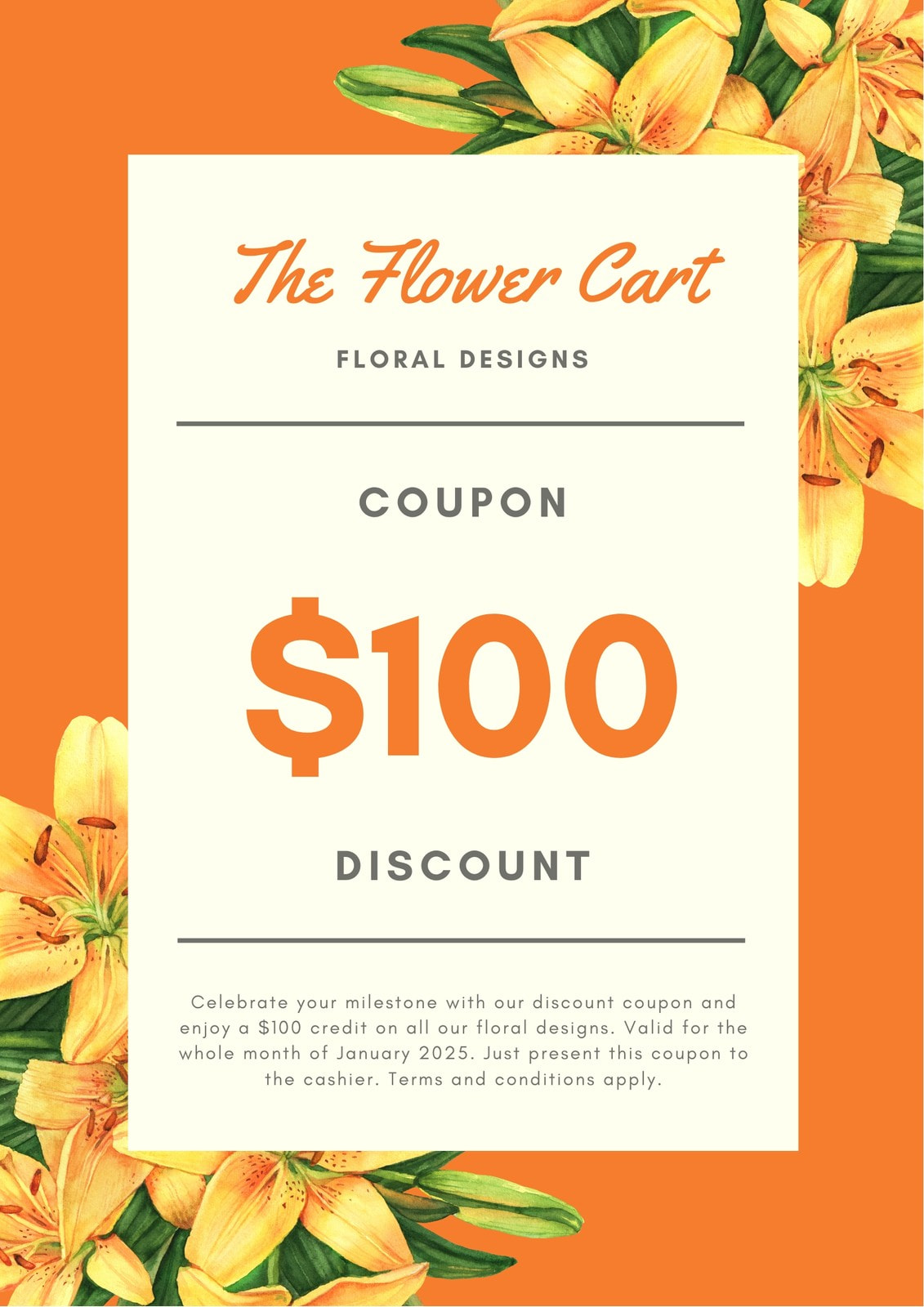 Orange Flowers Discount Coupon
