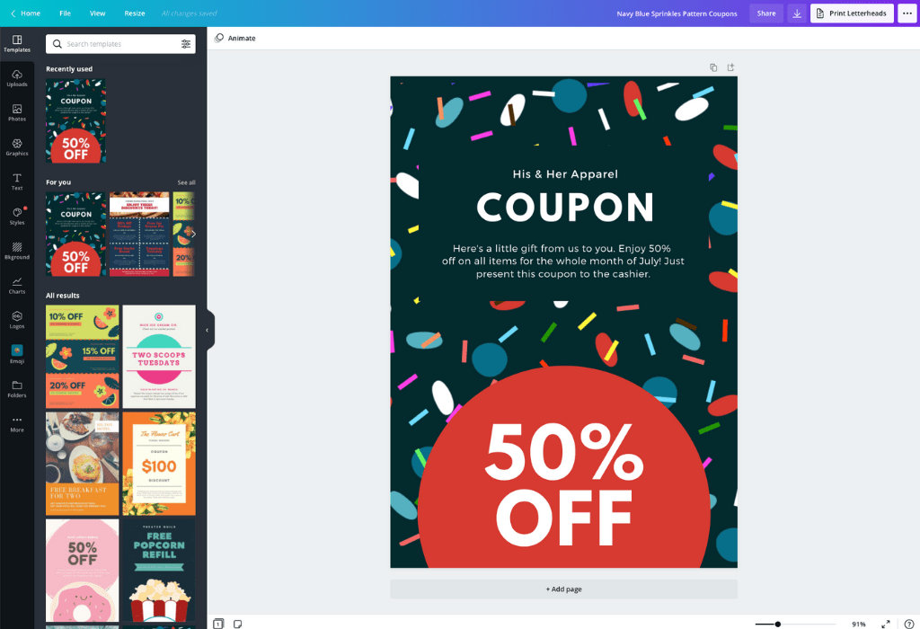 How to make coupons - Canva