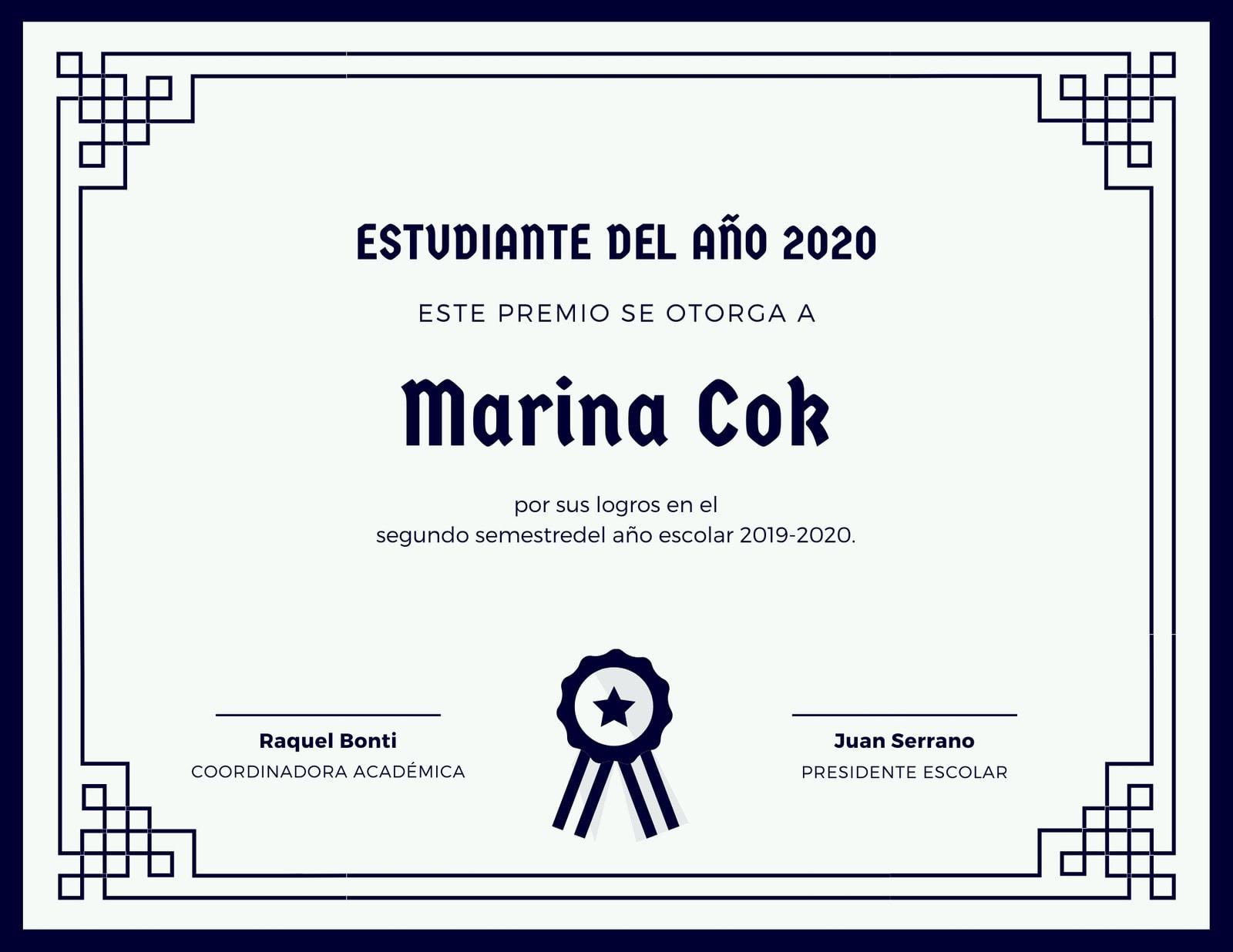 Azul Oscuro Con Borde Certificado Estudiantil