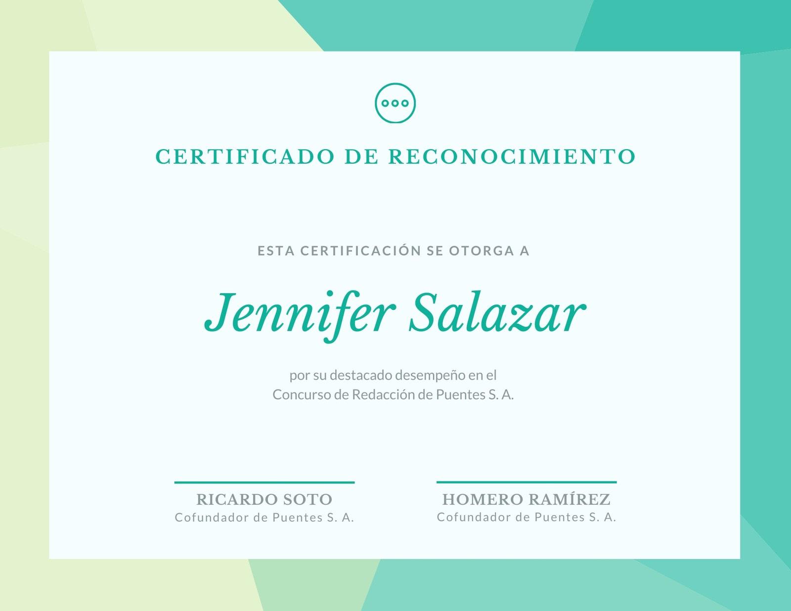 Verde Multitono Patrón Reconocimiento Certificado
