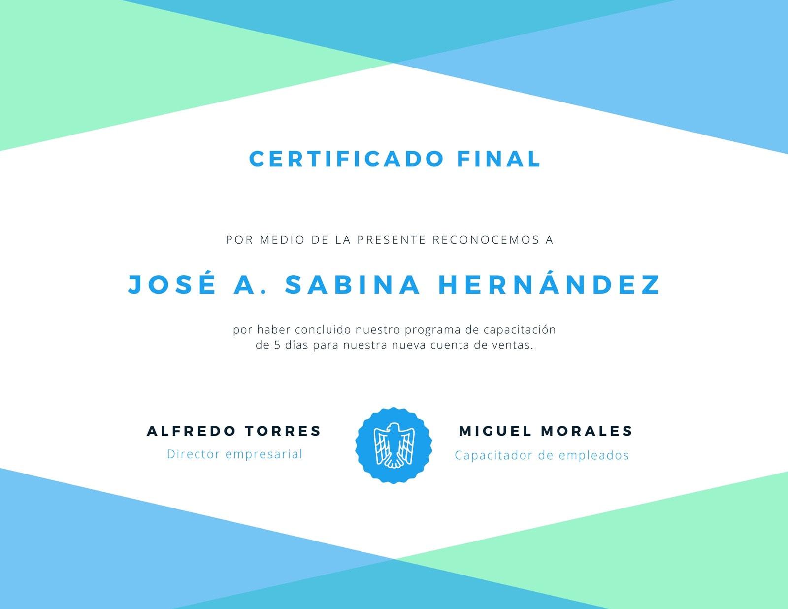 Verde Blanco y Azul Finalización Certificado