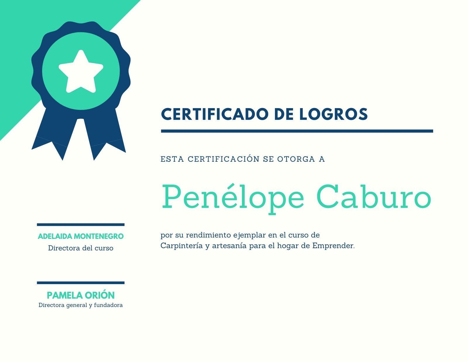 Azul Verde Galardón Logro Certificado