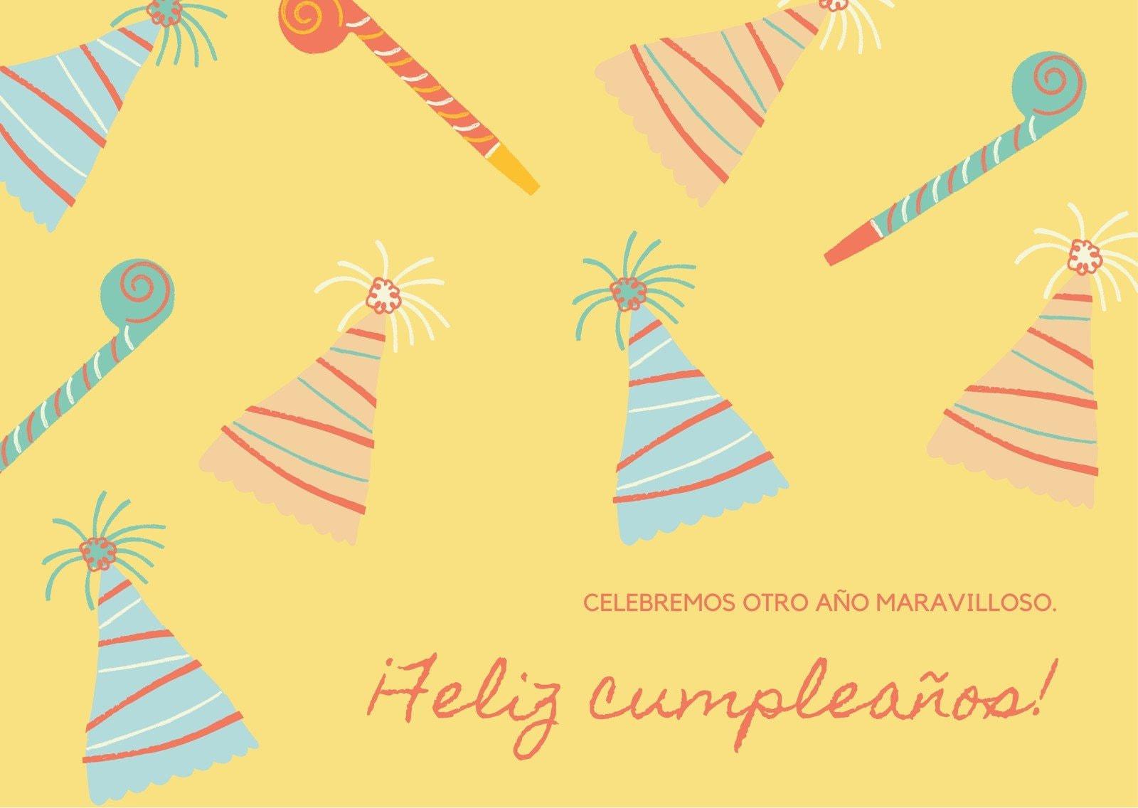 Amarillo y Naranja Espantasuegras y Sombrero de Fiesta Ilustraciones Lindas y Excéntricas Felicitación General de Cumpleaños Tarjeta