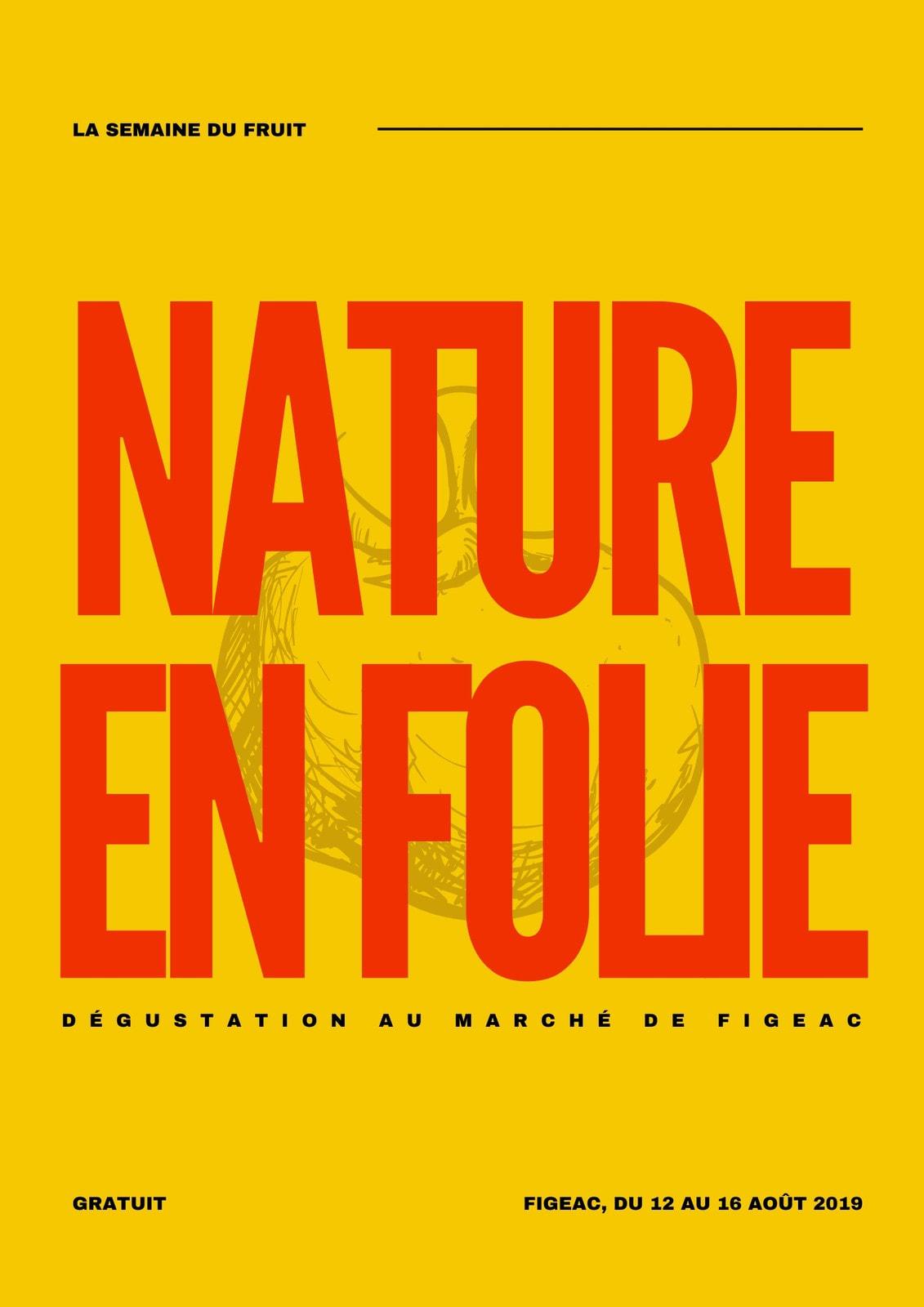 Poster marché local jaune et typographie rouge