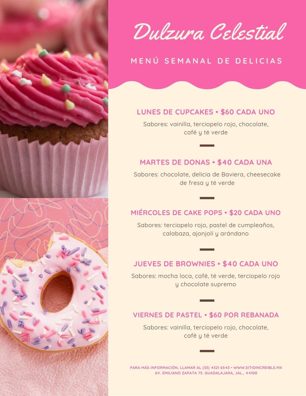 Rosa Bonito Foto Postres Semanal Menú