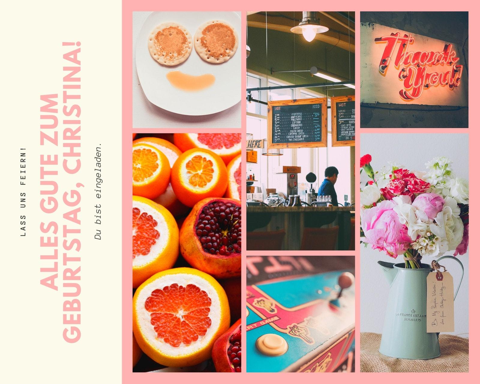 Rosa und cremefarben mädchenhaft Geburtstag Foto Collage