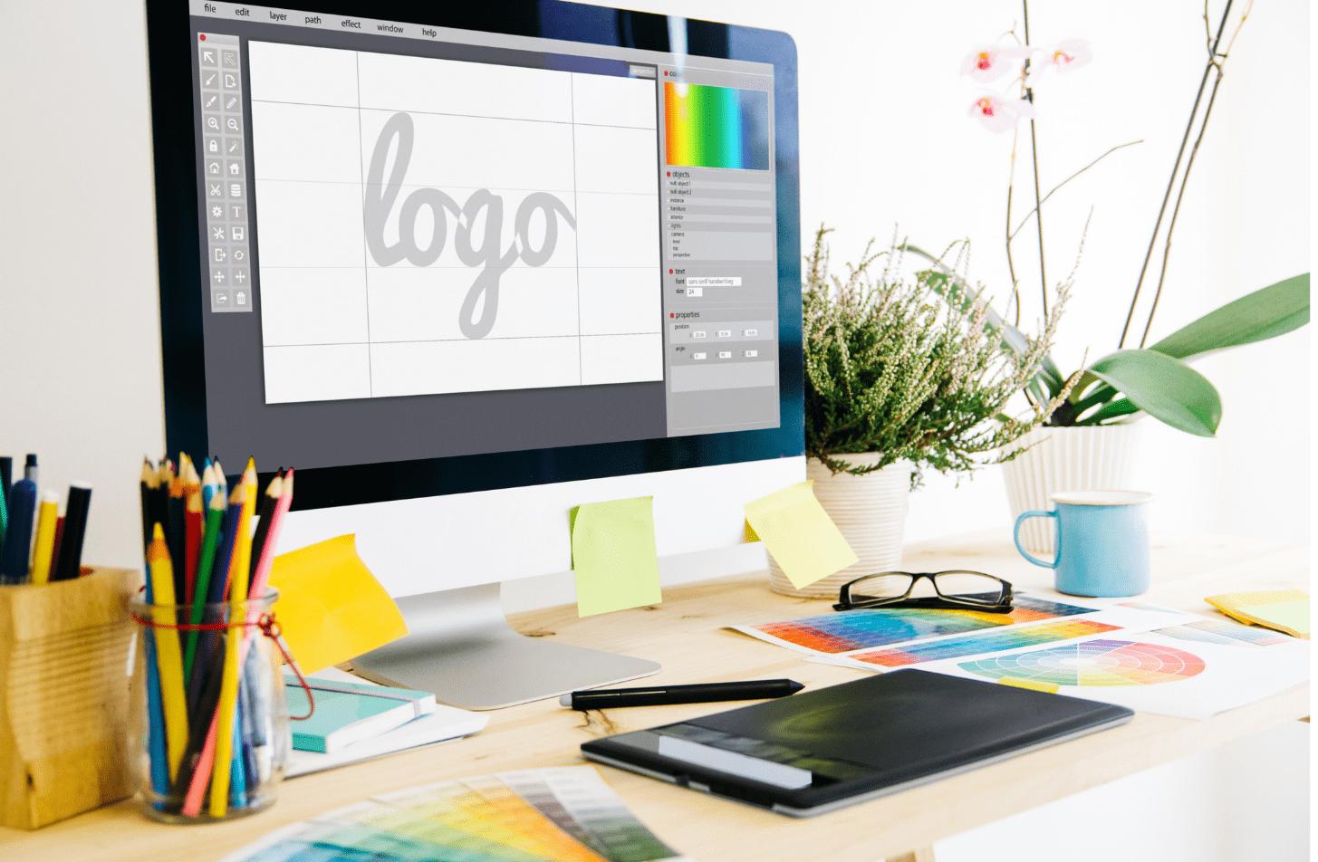 logo design app and service header image.