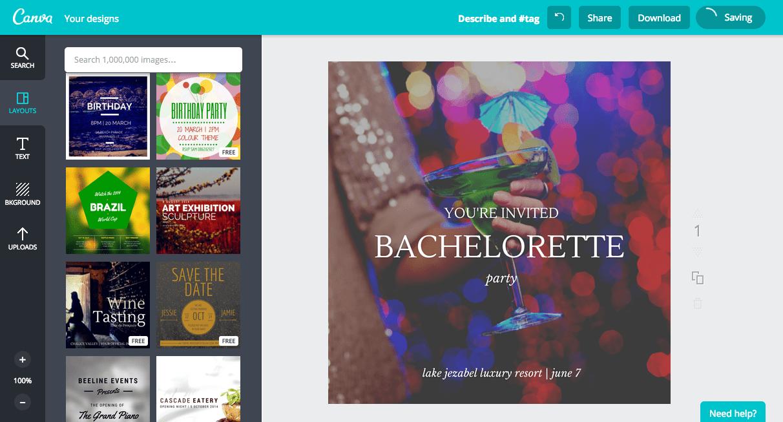 Create a bachelorette party invitation in canva