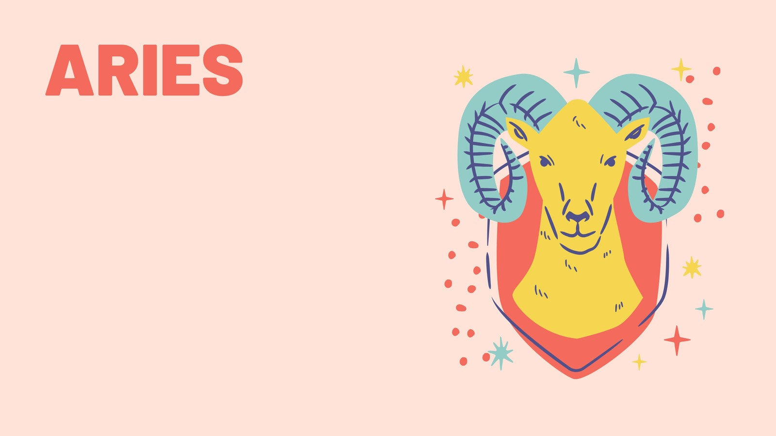 Yellow Green and Blue Cute Aries Zodiac Sign Zoom Virtual Background