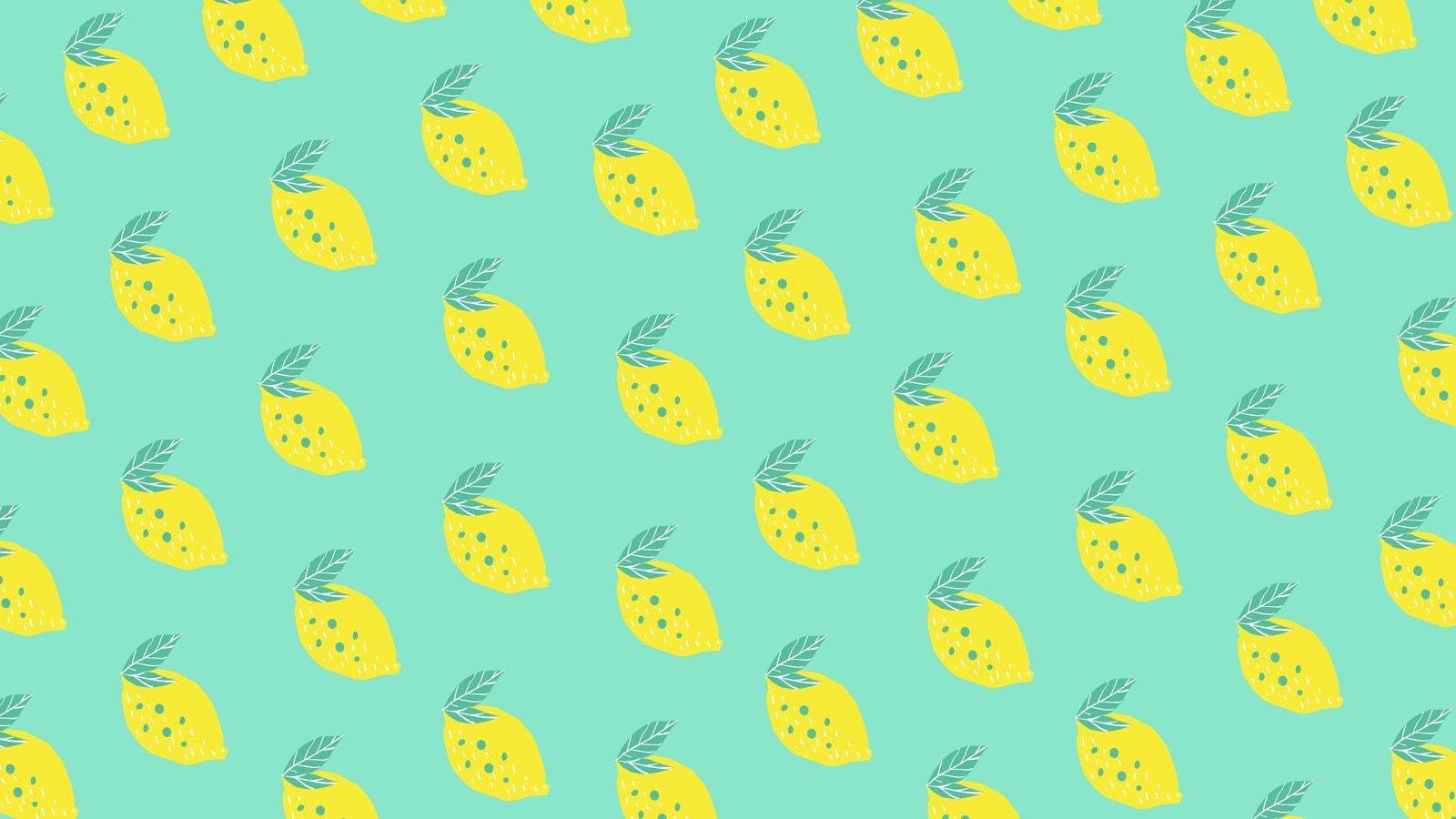 Green and Yellow Lemon Fruit Pattern Zoom Virtual Background