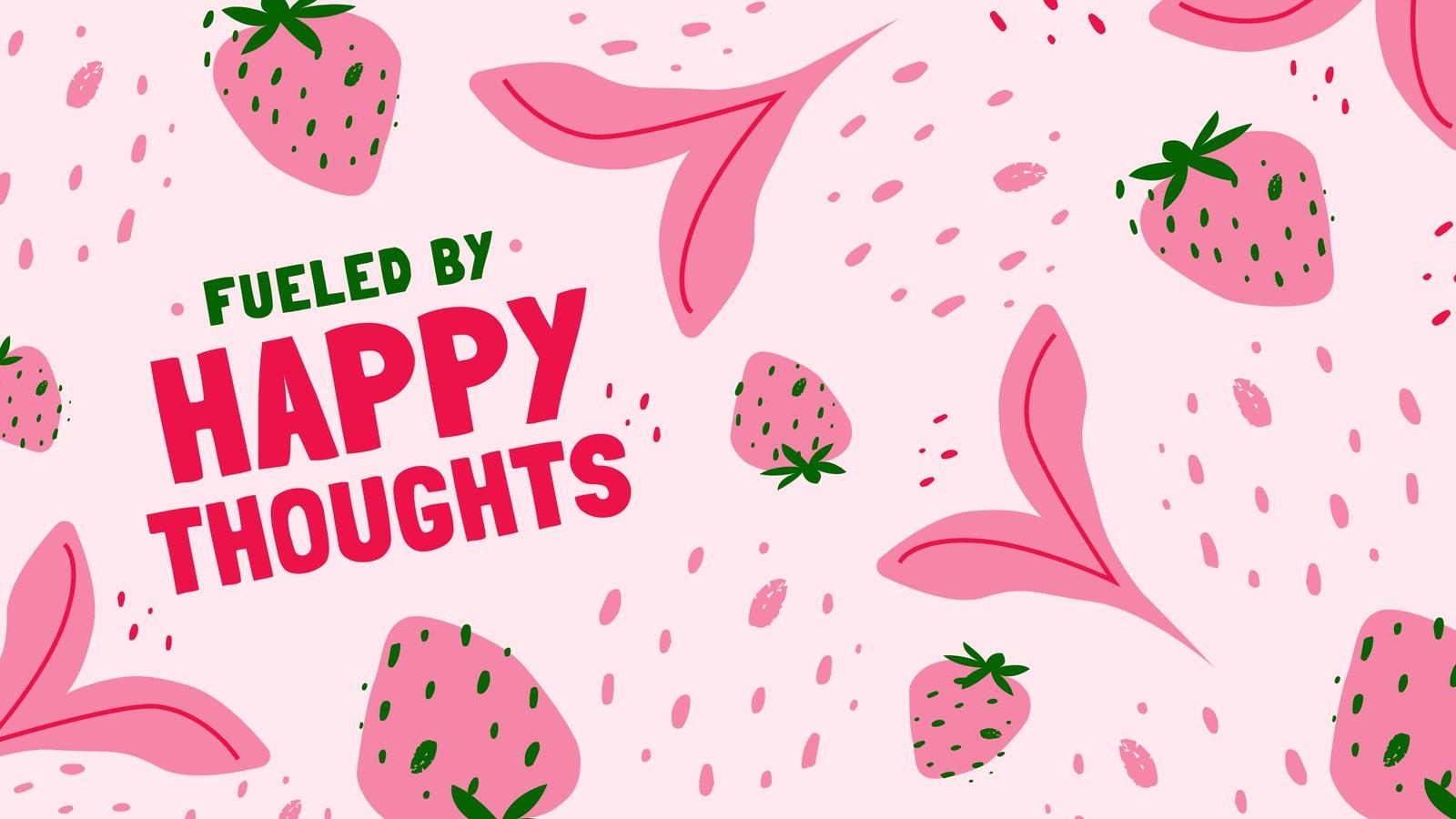 Pink Strawberry Pattern Zoom Virtual Background