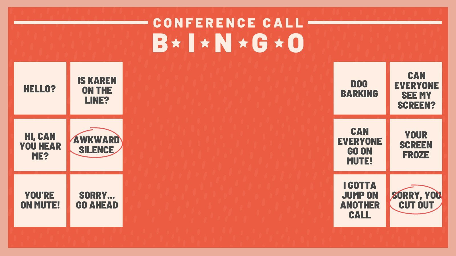 Red Conference Call Bingo Zoom Background